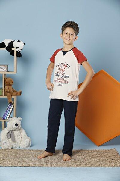 Erkek Çocuk Ekru Kısa Kollu Pamuklu Likralı Pijama Takım