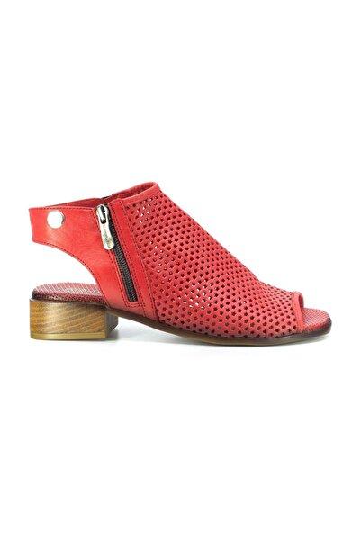 Mammamia D20ys-1105 Kadın Hakiki Deri Sandalet Kırmızı