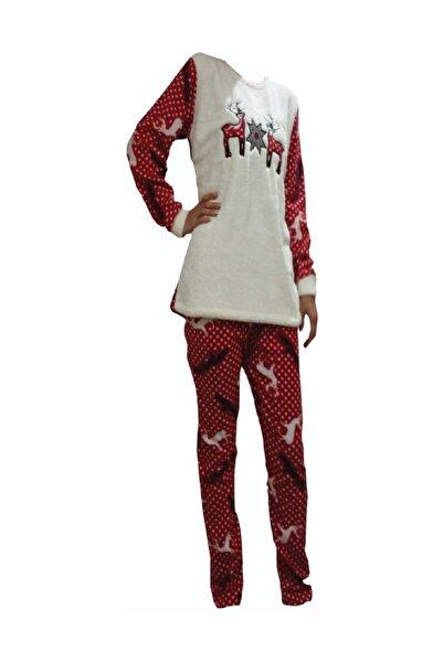 Kadın Kışlık Uzun Kollu Geyikli Polar Welsoft Pijama Takımı