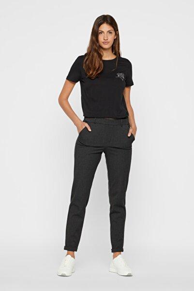Vero Moda Kadın Dark Grey Melange Düz Kesim Paçaları Katlamalı Kumaş Pantolon 10225280 VMMAYA 10225280