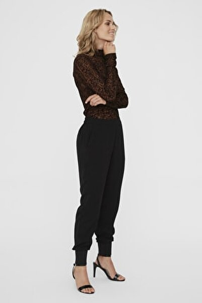 Kadın Siyah Paçası Kalın Ribanalı Beli Lastikli Pantolon 10222221 VMJOLLY