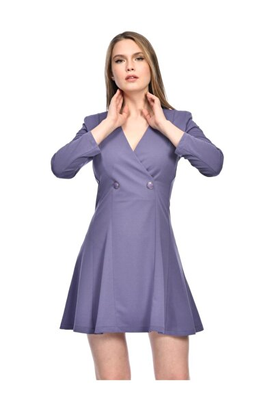 Kruvaze Yaka Krep Mini Lila Elbise