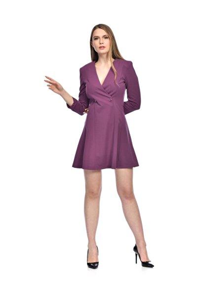 İroni Kruvaze Yaka Krep Mini Mor Elbise