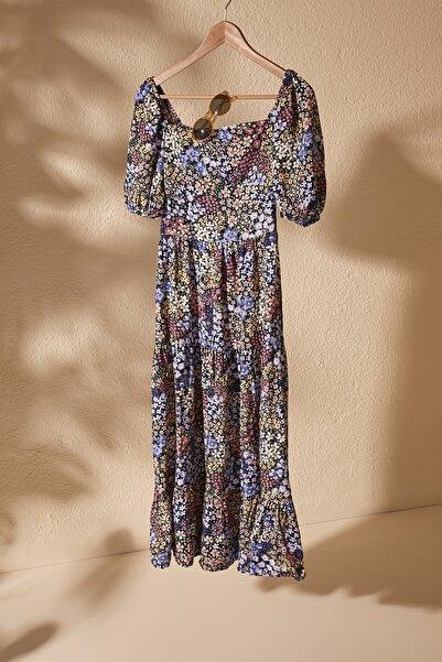 Çok Renkli Balon Kollu Çiçek Desenli Elbise TWOSS20EL2323