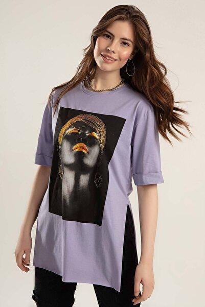 Y-London Kadın Lila Baskılı Yanları Yırtmaçlı Duble Kol Tiöşrt Y20S110-0362