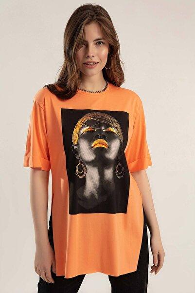 Y-London Kadın Turuncu Baskılı Yanları Yırtmaçlı Duble Kol Tiöşrt Y20S110-0362