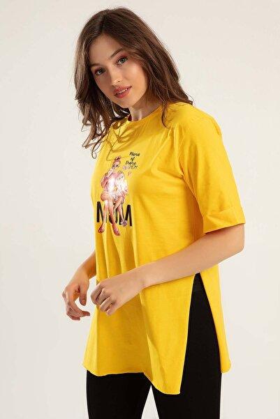 Y-London Kadın Sarı Baskılı Yanları Yırtmaçlı Duble Kol Tiöşrt Y20S110-0364