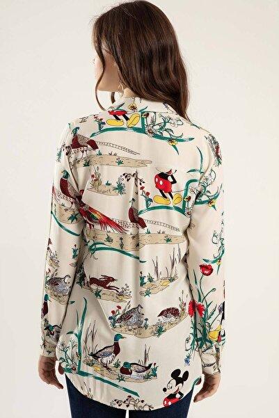 Kadın Bej Baskılı Uzun Kollu Gömlek Y20S110-3833