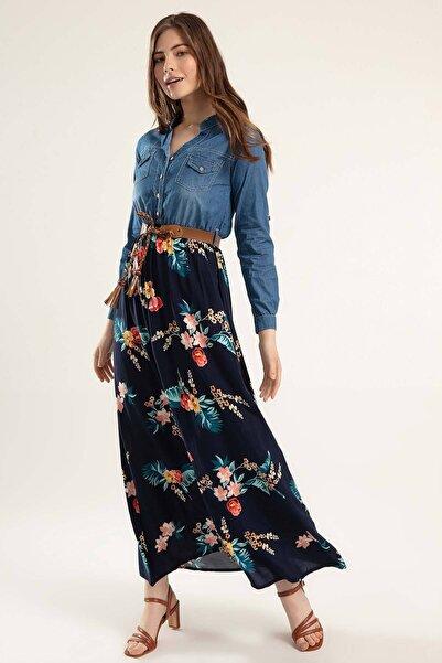 Y-London Kadın Denim Kuşaklı Katlanabilir Kol Eteği Çiçek Desenli Kot Elbise Y20S110-1395