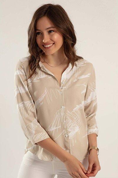 Kadın Bej Baskılı Katlanabilir Kol Gömlek Y20S110-3830