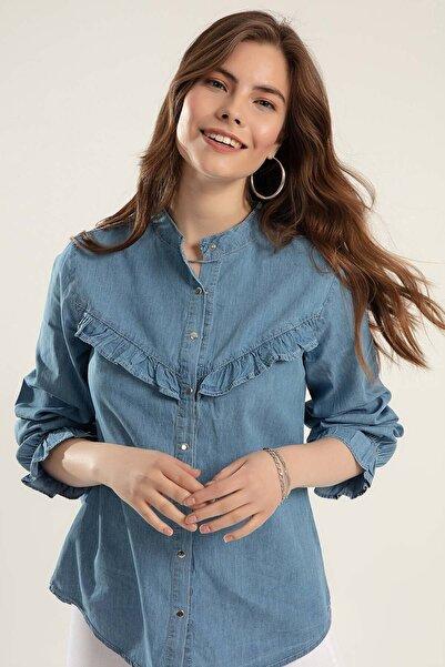 Kadın Açık Mavi Çıt Çıtlı Uzun Kol Kot Gömlek Y20S110-3799