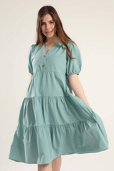 Y-London Kadın Mint Yeşili Yarı Düğmeli Kısa Kollu V Yaka Elbise Elbise Y20S110-1937