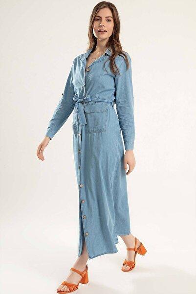 Y-London Kadın Açık Mavi Düğmeli Cepli Katlanabilir Kollu Elbise Y20S110-1932