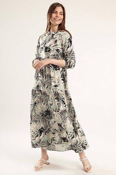 Y-London Kadın Mint Yeşili Baskılı Bağcıklı Uzun Elbise Y20S110-1627-1
