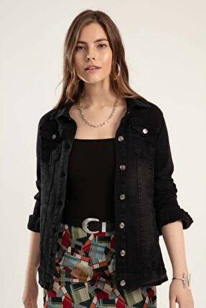 Kadın Siyah Düğmeli Kot Ceket Y20S110-0616