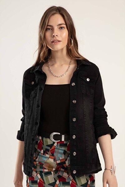 Y-London Kadın Siyah Düğmeli Kot Ceket Y20S110-0616
