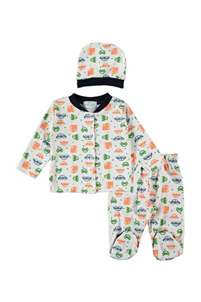 Ponpon Baby Bebek Araba Desenli 3 Parça Pijama Takım