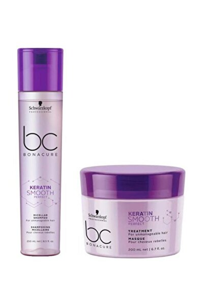 SCHWARZKOPF HAIR MASCARA Keratin Smooth Perfect Şampuan 250ml+kür Maske 200ml