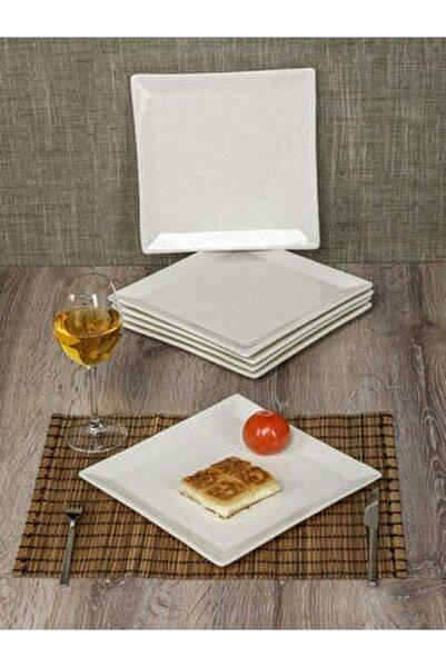 Granit Desenli Kare 6 Kişilik Büyük Servis Sunum Tabağı Beyaz