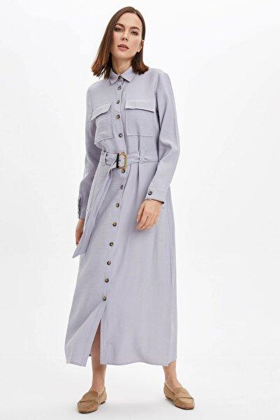DeFacto Kadın Mavi Regular Fit Dokuma Elbise N7847AZ.20SP.BE61