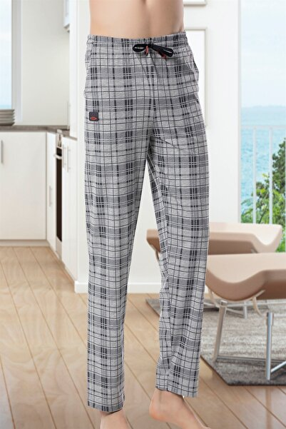 Ince Tek Alt Çok Rahat Ekoseli Pamuk Pijama