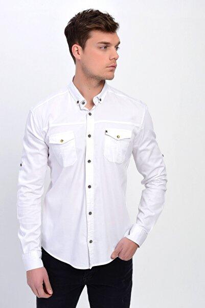Erkek Beyaz Çift Cepli Pamuklu Gabardin Gömlek