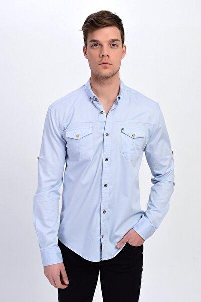 DYNAMO Erkek B.Mavi Çift Cepli Pamuklu Gabardin Gömlek
