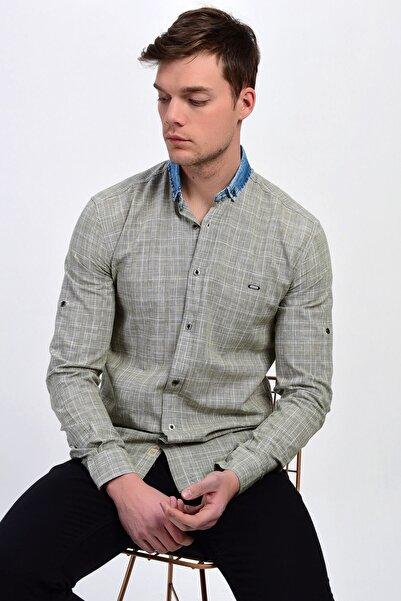 DYNAMO Erkek Haki Kot Yakalı Desenli Slim Fit Pamuk Gömlek