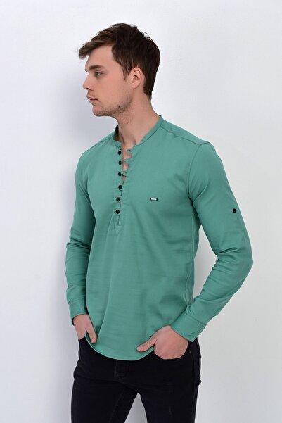 DYNAMO Erkek Mint Hakim Yaka Likralı Slim Fit Gömlek