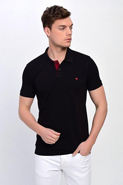 Erkek Siyah Polo Yaka Likralı T-shirt