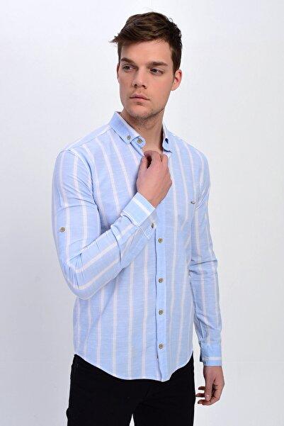 DYNAMO Erkek Buz Mavi Çizgili Düğmeli Yaka Pamuk Gömlek