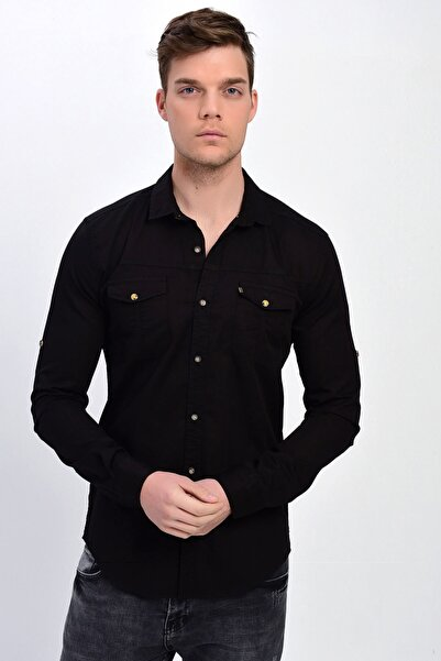 DYNAMO Erkek Siyah Çift Cepli Pamuklu Gabardin Gömlek