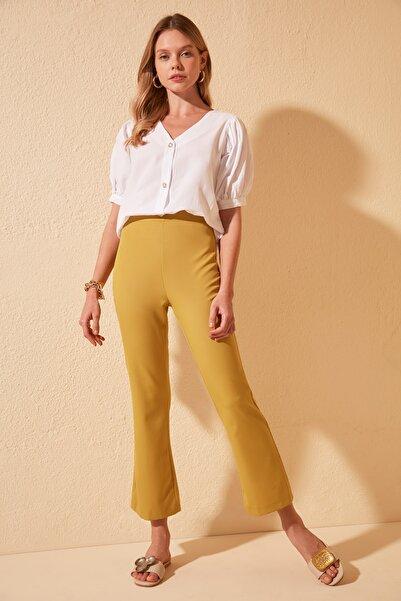 TRENDYOLMİLLA Yeşil Basic Pantolon TWOSS20PL0367