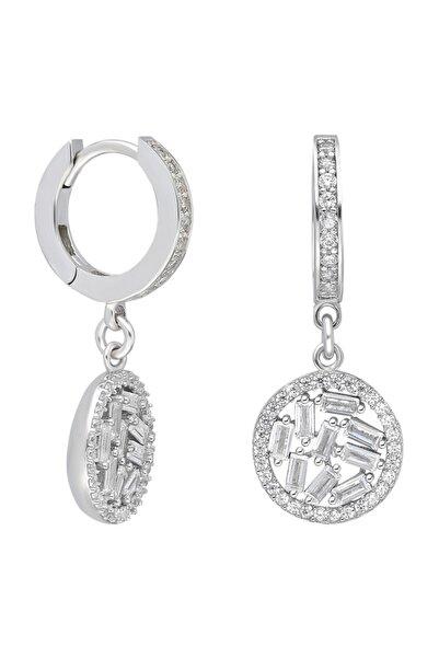 Chavin Baget Beyaz Taşlı Rodyum Gümüş Kadın Küpe Ef57by
