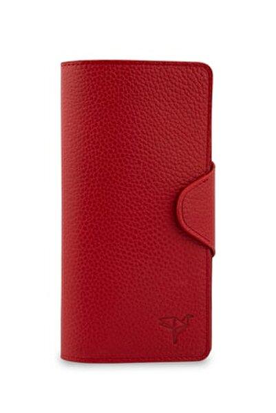 Martha Hakiki Deri Kırmızı Unisex Portföy Cüzdan