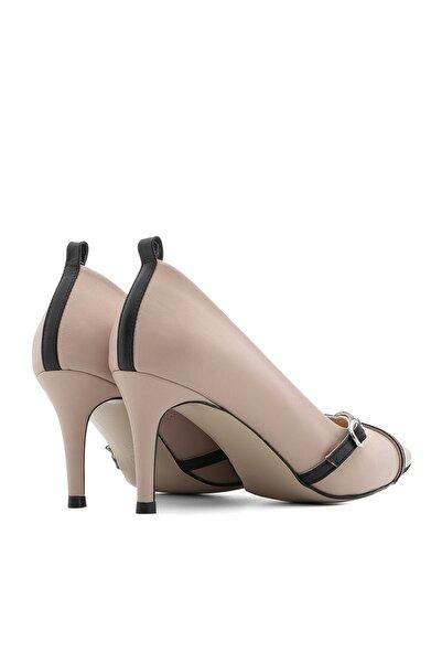 Mery Kadın Stiletto Pudra Deri-Siyah Deri Mery-4128.0027