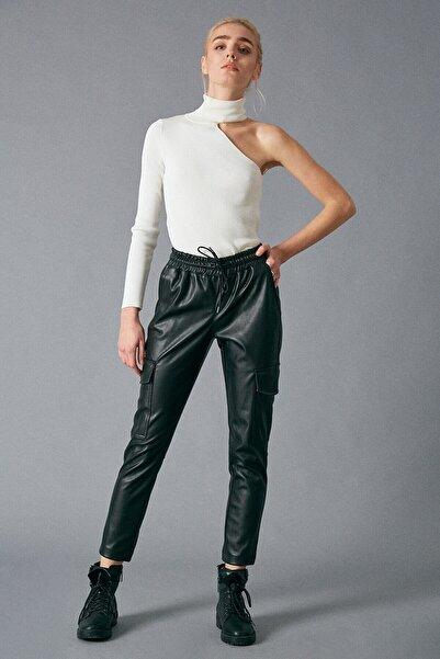 Robin Kadın Cep Detaylı Deri Pantolon Siyah D83336-102