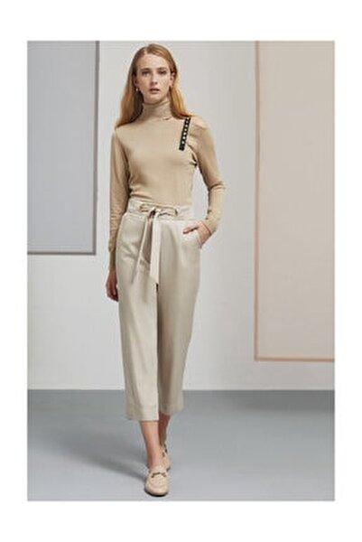Kadın Taş Ady Kuş Gözü Detaylı Bol Bej Pantolon