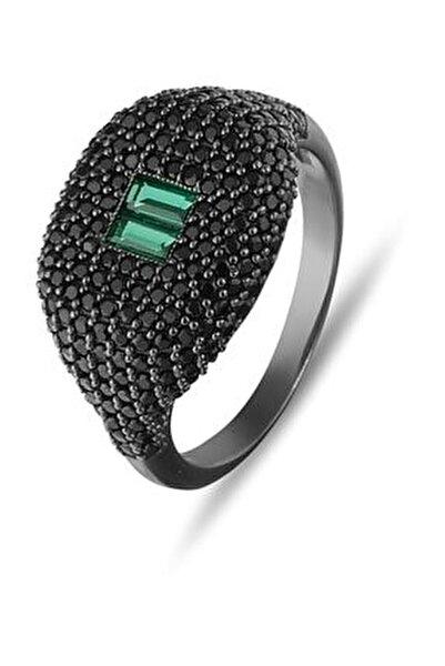 Yeşil Baget Taşlı Tasarım Gümüş Yüzük