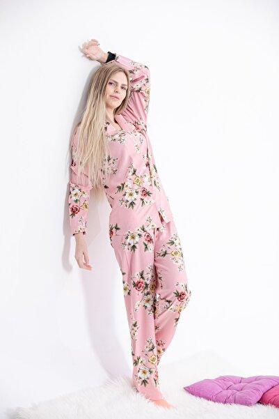Pijama Denizi Uzun Kollu Gömlek Yaka Pijama Takımı Pembe Çiçekli Dokuma