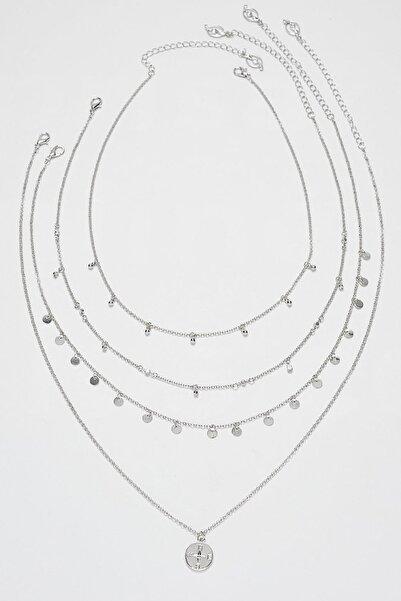 Kadın Gri 4'Lü Str Madalyon Uçlu Ve Kristal Kolye Seti 03108004