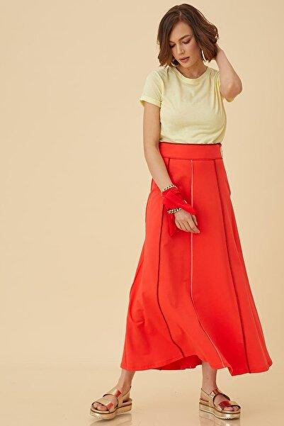 Kayra Renkli Dikişli Kloş Etek Kırmızı B9 12014