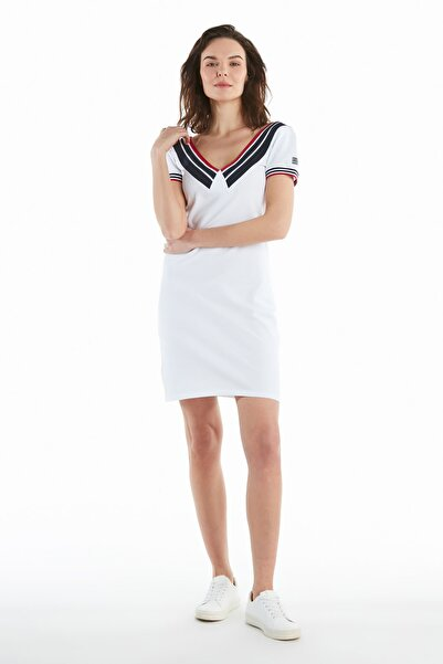 Ruck & Maul Casual V Yaka Elbise - White