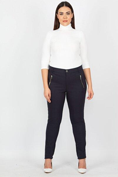 Kadın Lacivert Fermuar Detaylı Pantolon 65N15523