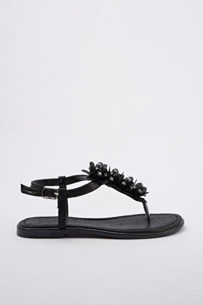 TRENDYOLMİLLA Siyah Taş Detaylı Kadın Sandalet TAKSS20SD0014