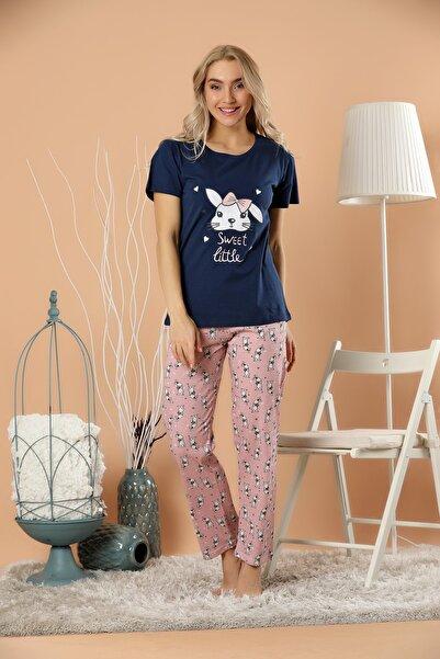 STRAWBERRY Kadın Lacivert Pamuklu Baskılı Pijama Takım
