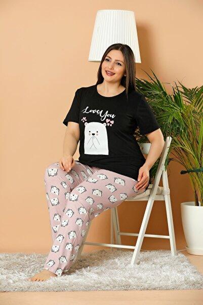 ELİTOL Kadın Siyah Battal Boy Baskılı Pamuklu Likralı Pijama Takım