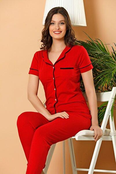 Kadın Kırmızı Düğmeli Pijama Takım