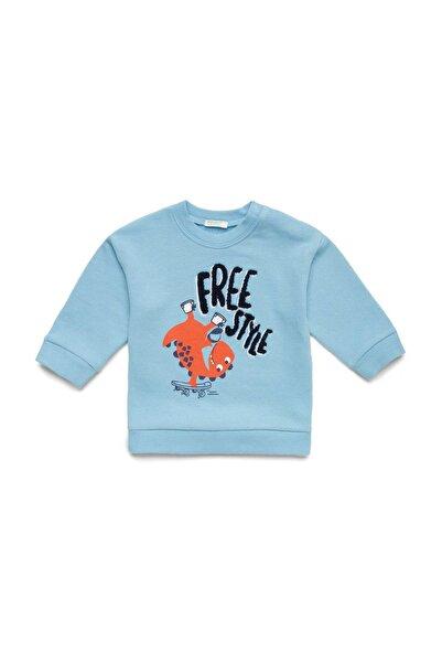 United Colors of Benetton Açık Mavi Bebek Sevimli Dinazor Baskılı Sweatshir