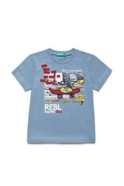 Koyu Mavi Çocuk Skeç Baskılı Tshirt